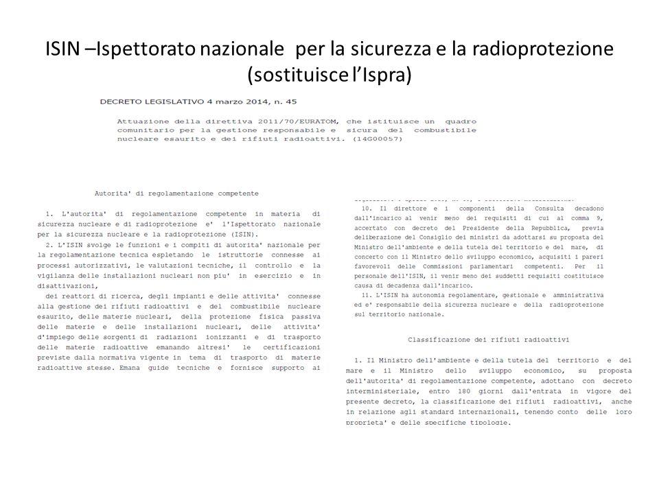 ISIN –Ispettorato nazionale per la sicurezza e la radioprotezione (sostituisce l'Ispra)
