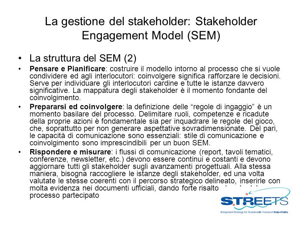 La gestione del stakeholder: Stakeholder Engagement Model (SEM) La struttura del SEM (2) Pensare e Pianificare: costruire il modello intorno al processo che si vuole condividere ed agli interlocutori: coinvolgere significa rafforzare le decisioni.