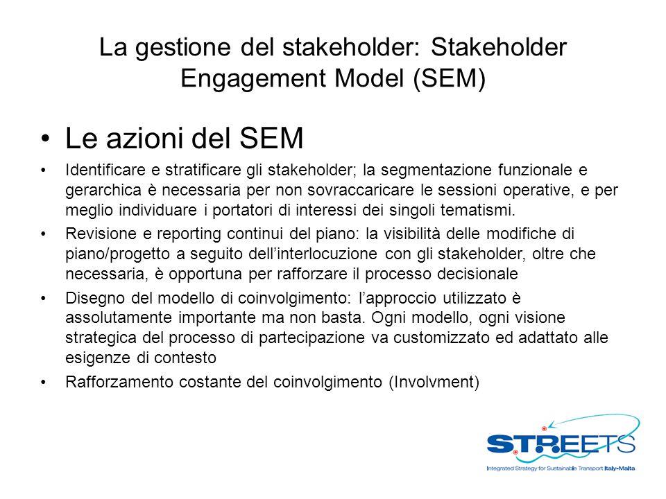 La gestione del stakeholder: Stakeholder Engagement Model (SEM) Le azioni del SEM Identificare e stratificare gli stakeholder; la segmentazione funzionale e gerarchica è necessaria per non sovraccaricare le sessioni operative, e per meglio individuare i portatori di interessi dei singoli tematismi.