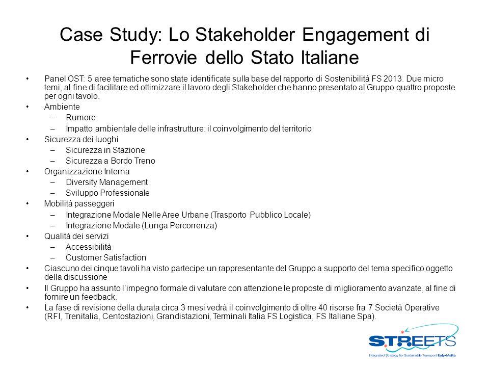 Case Study: Lo Stakeholder Engagement di Ferrovie dello Stato Italiane Panel OST: 5 aree tematiche sono state identificate sulla base del rapporto di Sostenibilità FS 2013.