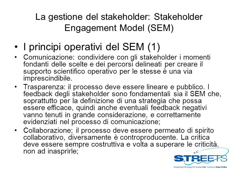 La gestione del stakeholder: Stakeholder Engagement Model (SEM) I principi operativi del SEM (1) Comunicazione: condividere con gli stakeholder i momenti fondanti delle scelte e dei percorsi delineati per creare il supporto scientifico operativo per le stesse è una via imprescindibile.