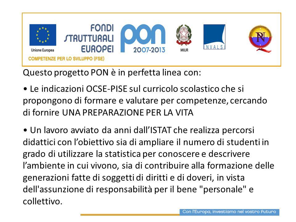 Questo progetto PON è in perfetta linea con: Le indicazioni OCSE-PISE sul curricolo scolastico che si propongono di formare e valutare per competenze,