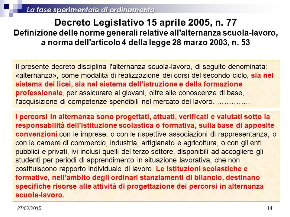 14 Decreto Legislativo 15 aprile 2005, n. 77 Definizione delle norme generali relative all'alternanza scuola-lavoro, a norma dell'articolo 4 della leg