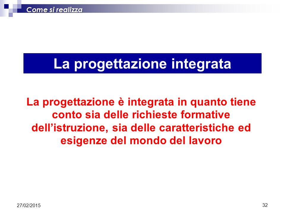 32 La progettazione integrata Come si realizza La progettazione è integrata in quanto tiene conto sia delle richieste formative dell'istruzione, sia delle caratteristiche ed esigenze del mondo del lavoro 27/02/2015