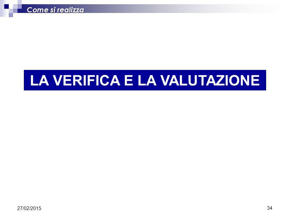 34 Come si realizza LA VERIFICA E LA VALUTAZIONE 27/02/2015