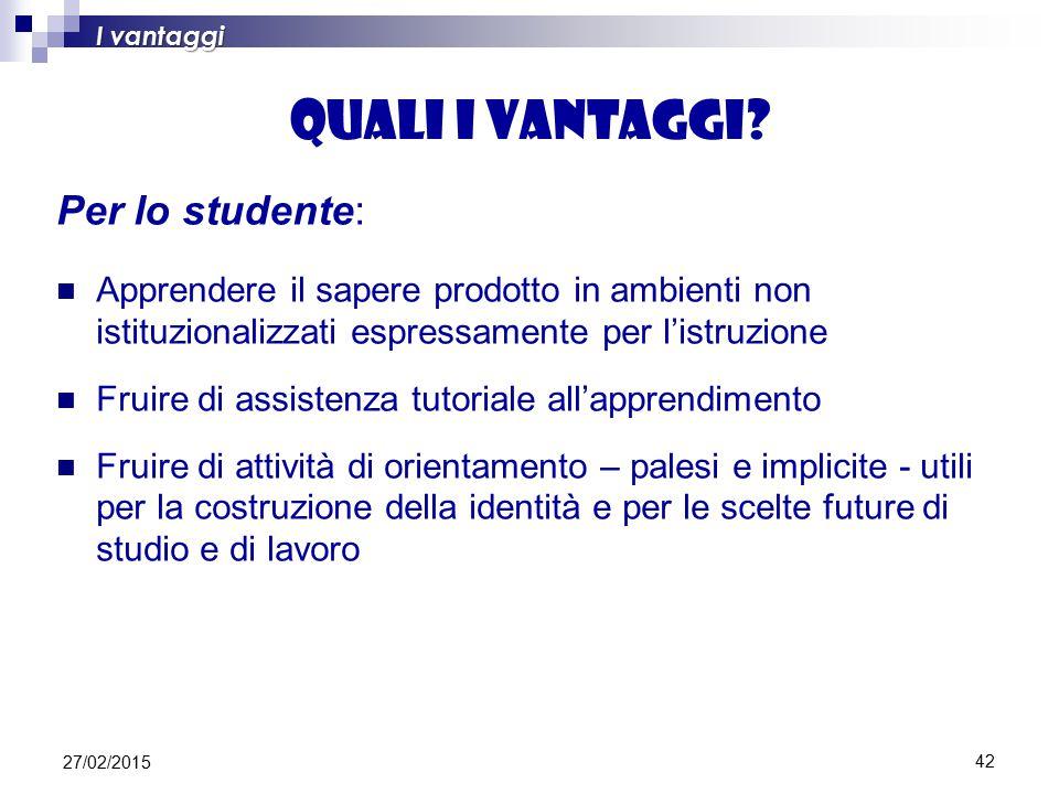 42 Quali i vantaggi? Per lo studente: Apprendere il sapere prodotto in ambienti non istituzionalizzati espressamente per l'istruzione Fruire di assist