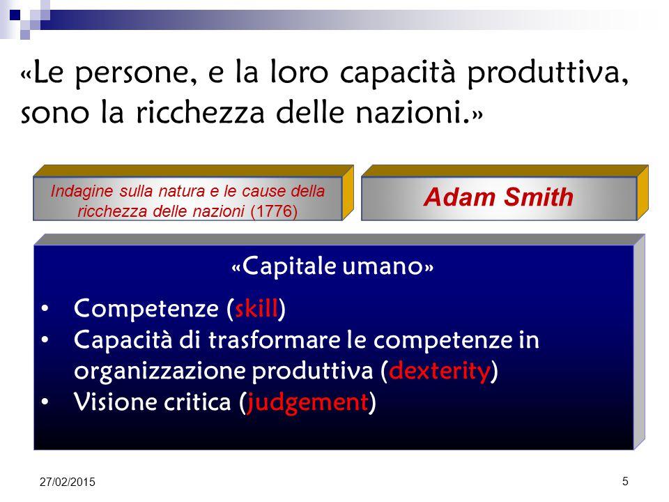 «Capitale umano» Competenze (skill) Capacità di trasformare le competenze in organizzazione produttiva (dexterity) Visione critica (judgement) Adam Smith «Le persone, e la loro capacità produttiva, sono la ricchezza delle nazioni.» Indagine sulla natura e le cause della ricchezza delle nazioni (1776) 27/02/2015 5