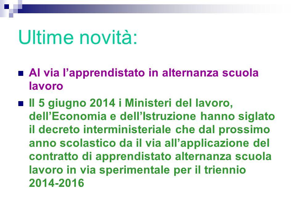 Ultime novità: Al via l'apprendistato in alternanza scuola lavoro Il 5 giugno 2014 i Ministeri del lavoro, dell'Economia e dell'Istruzione hanno sigla