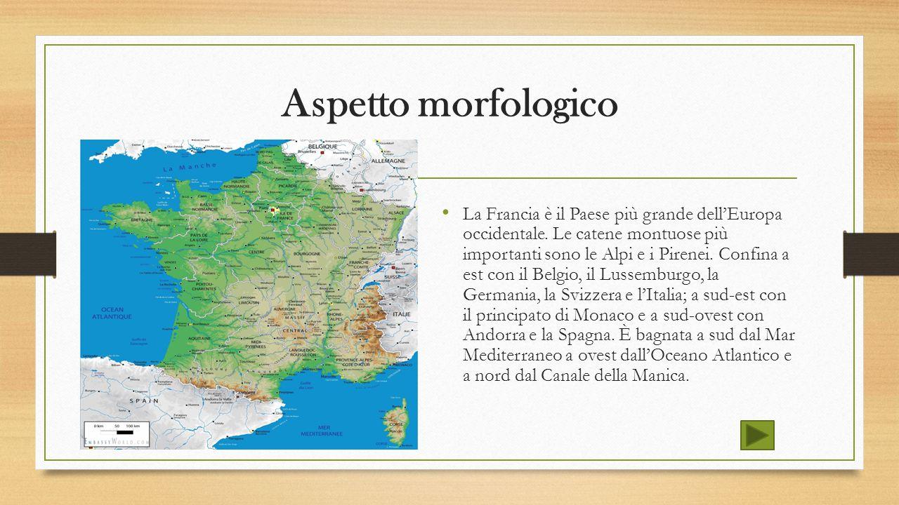 Aspetto morfologico La Francia è il Paese più grande dell'Europa occidentale. Le catene montuose più importanti sono le Alpi e i Pirenei. Confina a es