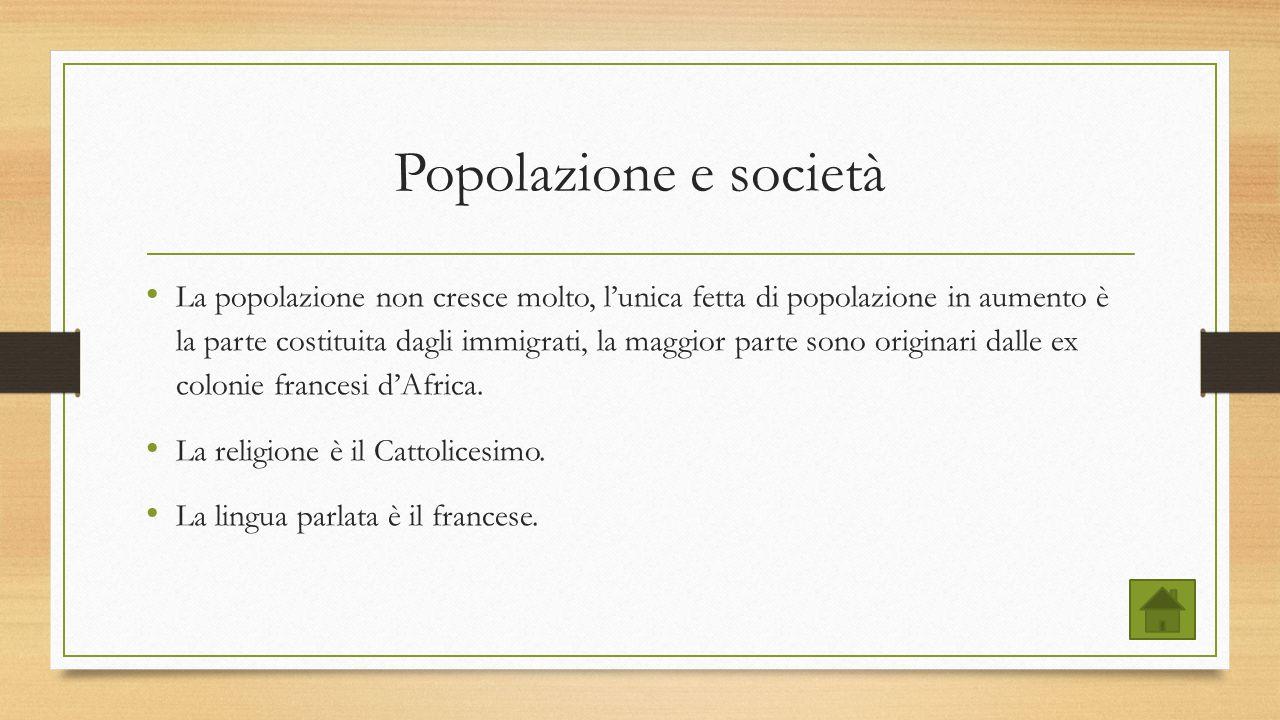 Popolazione e società La popolazione non cresce molto, l'unica fetta di popolazione in aumento è la parte costituita dagli immigrati, la maggior parte