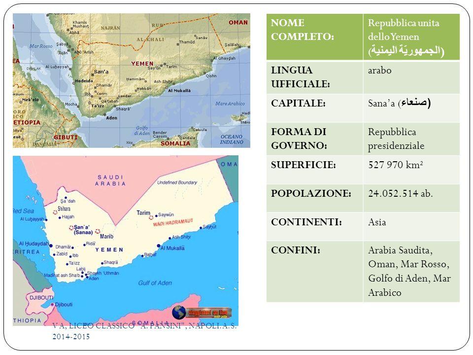 NOME COMPLETO: Repubblica unita dello Yemen ( الجمهوريّة اليمنية ) LINGUA UFFICIALE: arabo CAPITALE:Sana'a ( صنعاء) FORMA DI GOVERNO: Repubblica presidenziale SUPERFICIE:527 970 km² POPOLAZIONE:24.052.514 ab.