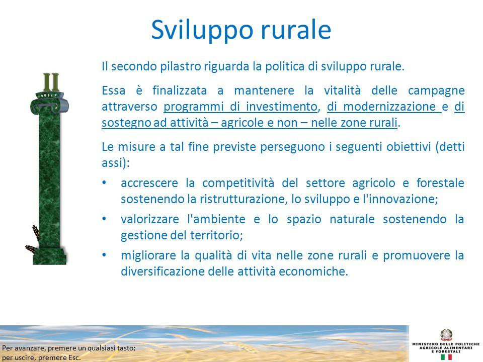 Per avanzare, premere un qualsiasi tasto; per uscire, premere Esc. Sviluppo rurale Il secondo pilastro riguarda la politica di sviluppo rurale. Essa è
