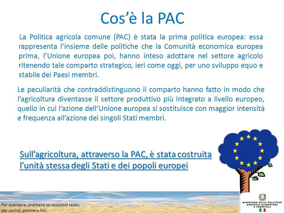 Per avanzare, premere un qualsiasi tasto; per uscire, premere Esc. Cos'è la PAC La Politica agricola comune (PAC) è stata la prima politica europea: e