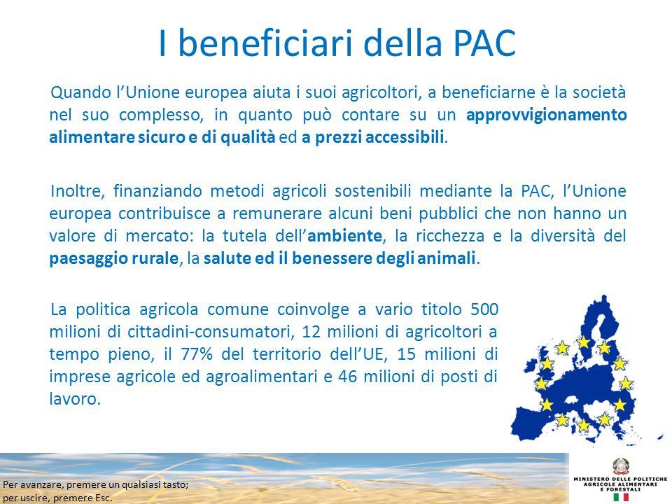 Per avanzare, premere un qualsiasi tasto; per uscire, premere Esc. I beneficiari della PAC Quando l'Unione europea aiuta i suoi agricoltori, a benefic