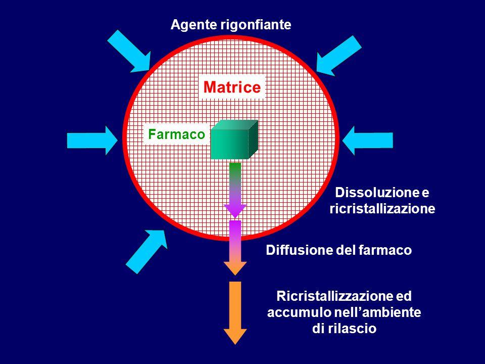 Farmaco Matrice Ricristallizzazione ed accumulo nell'ambiente di rilascio Diffusione del farmaco Agente rigonfiante Dissoluzione e ricristallizazione