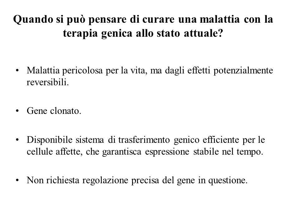 Malattia pericolosa per la vita, ma dagli effetti potenzialmente reversibili. Gene clonato. Disponibile sistema di trasferimento genico efficiente per
