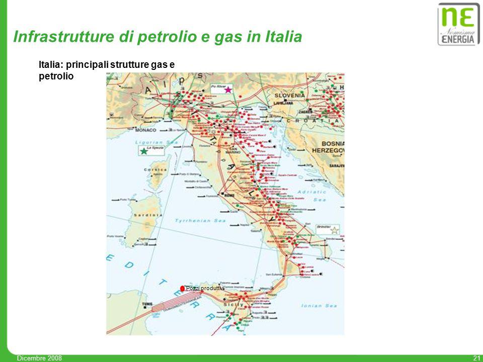 21 Infrastrutture di petrolio e gas in Italia Italia: principali strutture gas e petrolio Pozzi produttivi Dicembre 2008