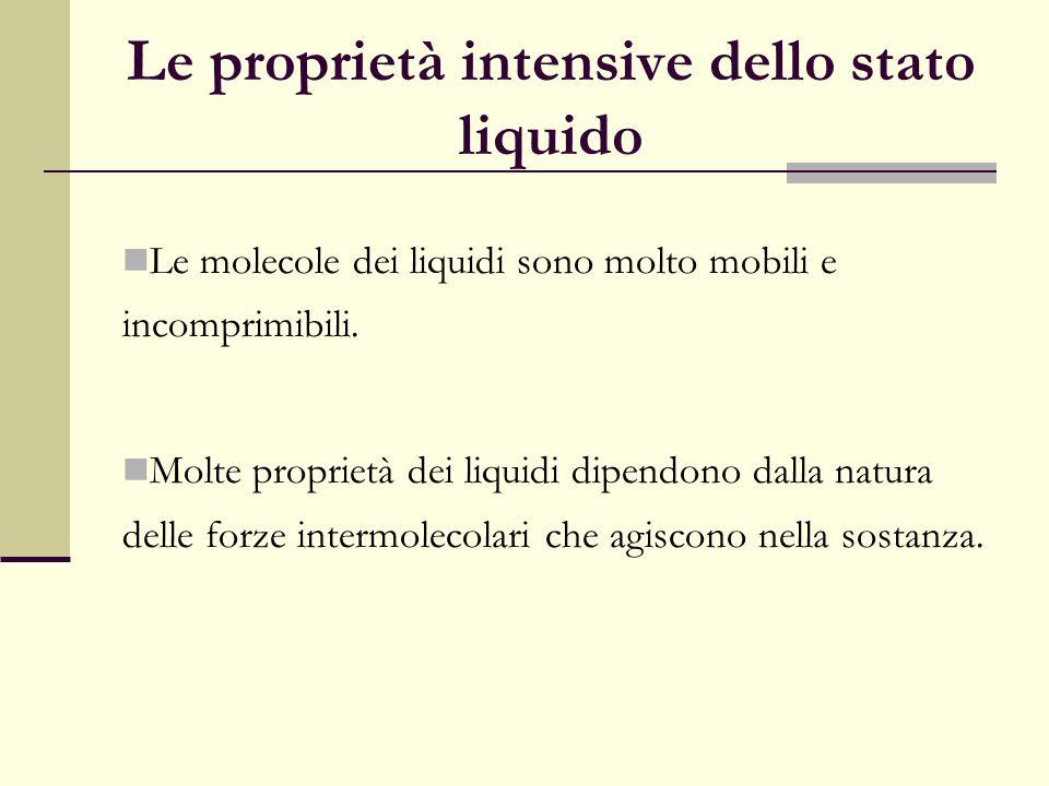 Le proprietà intensive dello stato liquido Le molecole dei liquidi sono molto mobili e incomprimibili. Molte proprietà dei liquidi dipendono dalla nat