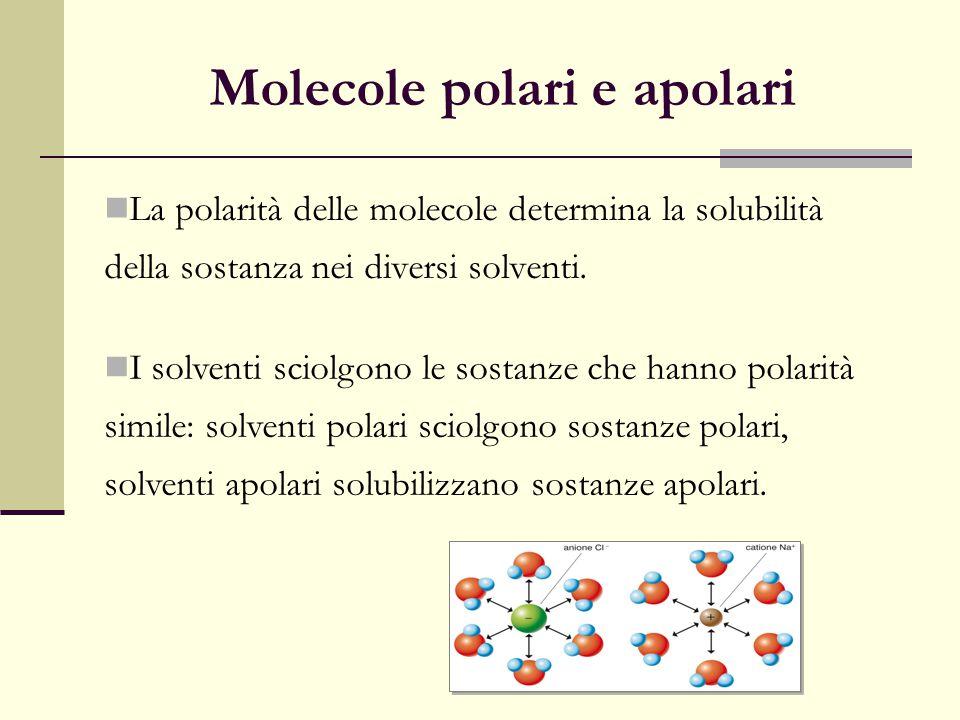 Molecole polari e apolari La polarità delle molecole determina la solubilità della sostanza nei diversi solventi. I solventi sciolgono le sostanze che