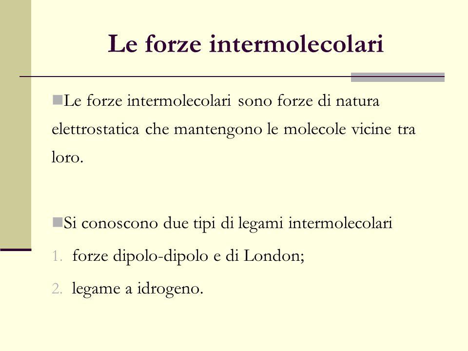 Le forze intermolecolari Le forze intermolecolari sono forze di natura elettrostatica che mantengono le molecole vicine tra loro. Si conoscono due tip