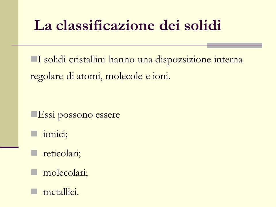La classificazione dei solidi I solidi cristallini hanno una dispozsizione interna regolare di atomi, molecole e ioni. Essi possono essere ionici; ret