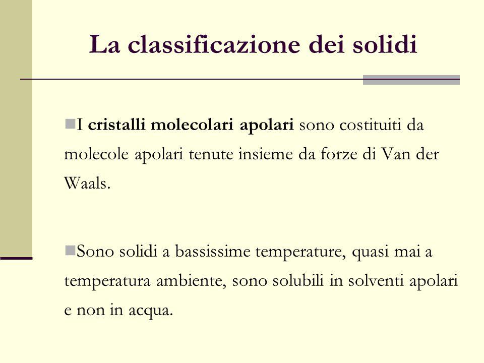 La classificazione dei solidi I cristalli molecolari apolari sono costituiti da molecole apolari tenute insieme da forze di Van der Waals. Sono solidi