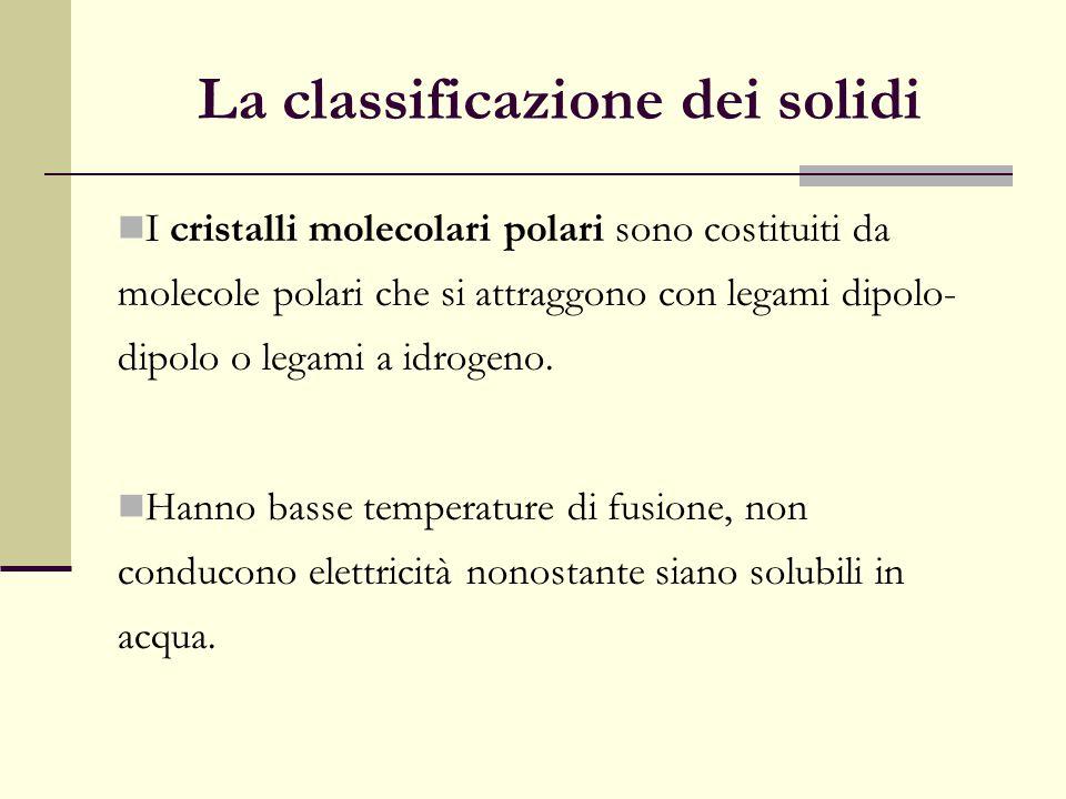 La classificazione dei solidi I cristalli molecolari polari sono costituiti da molecole polari che si attraggono con legami dipolo- dipolo o legami a