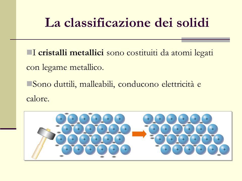 La classificazione dei solidi I cristalli metallici sono costituiti da atomi legati con legame metallico. Sono duttili, malleabili, conducono elettric
