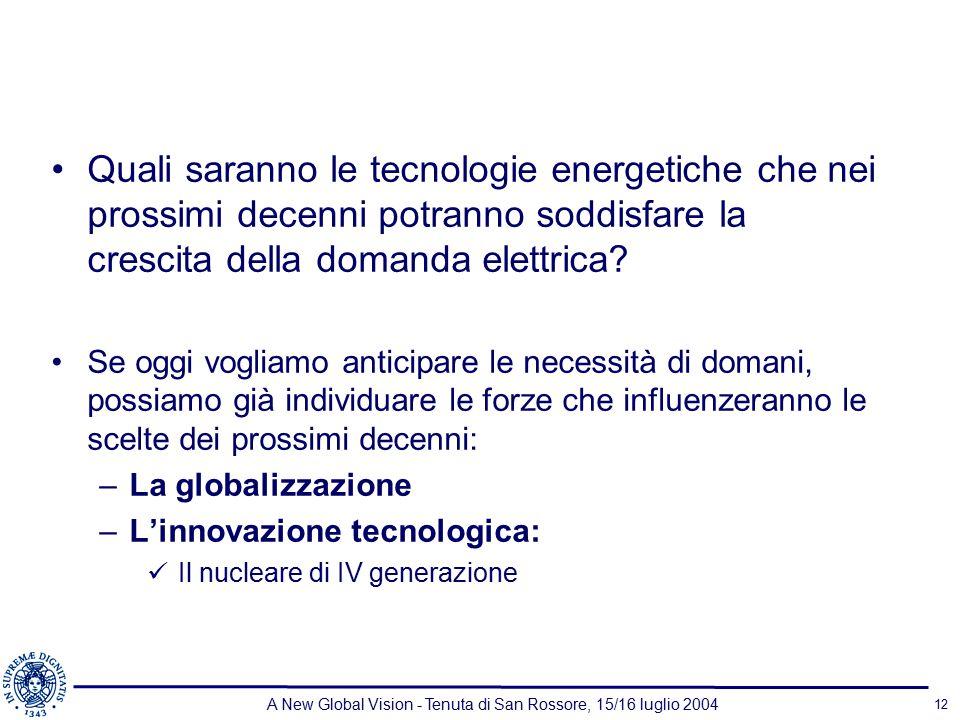 A New Global Vision - Tenuta di San Rossore, 15/16 luglio 2004 12 Quali saranno le tecnologie energetiche che nei prossimi decenni potranno soddisfare la crescita della domanda elettrica.