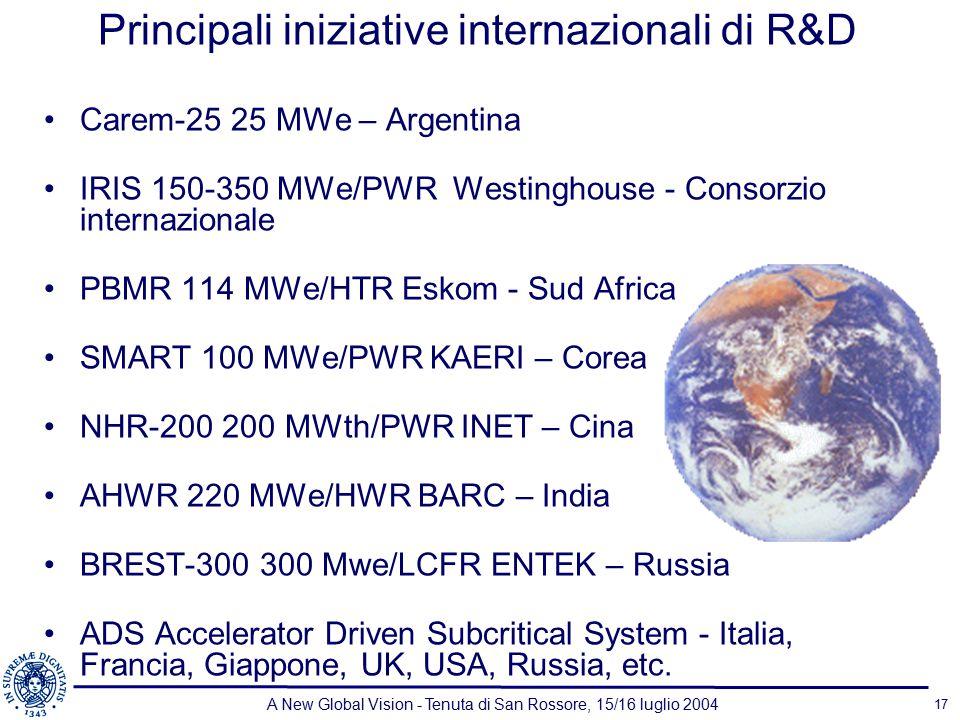 A New Global Vision - Tenuta di San Rossore, 15/16 luglio 2004 17 Principali iniziative internazionali di R&D Carem-25 25 MWe – Argentina IRIS 150-350 MWe/PWR Westinghouse - Consorzio internazionale PBMR 114 MWe/HTR Eskom - Sud Africa SMART 100 MWe/PWR KAERI – Corea NHR-200 200 MWth/PWR INET – Cina AHWR 220 MWe/HWR BARC – India BREST-300 300 Mwe/LCFR ENTEK – Russia ADS Accelerator Driven Subcritical System - Italia, Francia, Giappone, UK, USA, Russia, etc.