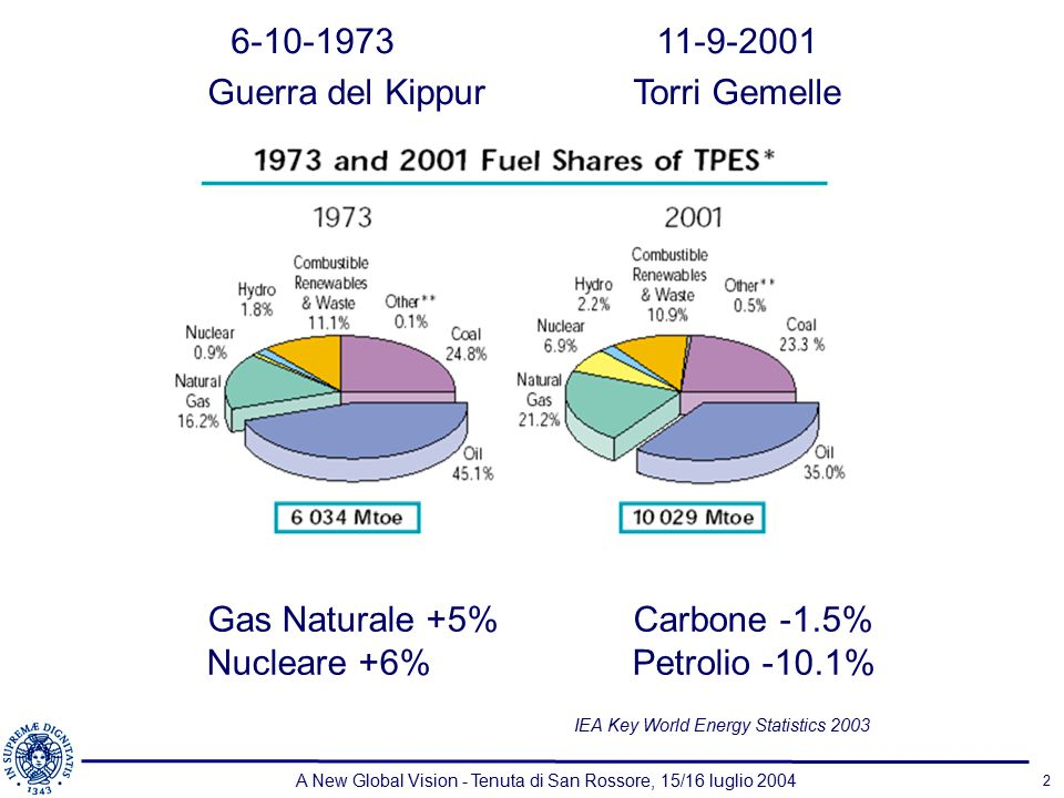 A New Global Vision - Tenuta di San Rossore, 15/16 luglio 2004 2 Gas Naturale +5%Carbone -1.5% Nucleare +6%Petrolio -10.1% 6-10-197311-9-2001 Guerra del KippurTorri Gemelle IEA Key World Energy Statistics 2003