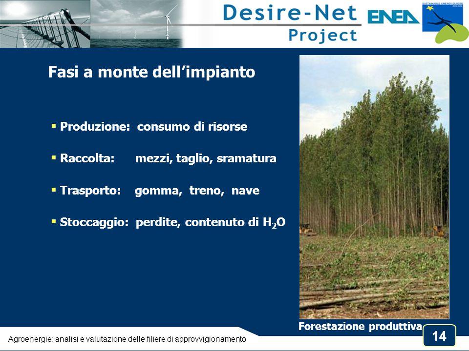 14 Agroenergie: analisi e valutazione delle filiere di approvvigionamento Fasi a monte dell'impianto  Produzione: consumo di risorse  Raccolta: mezz
