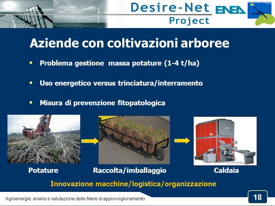 18 Aziende con coltivazioni arboree  Problema gestione massa potature (1-4 t/ha)  Uso energetico versus trinciatura/interramento  Misura di preven