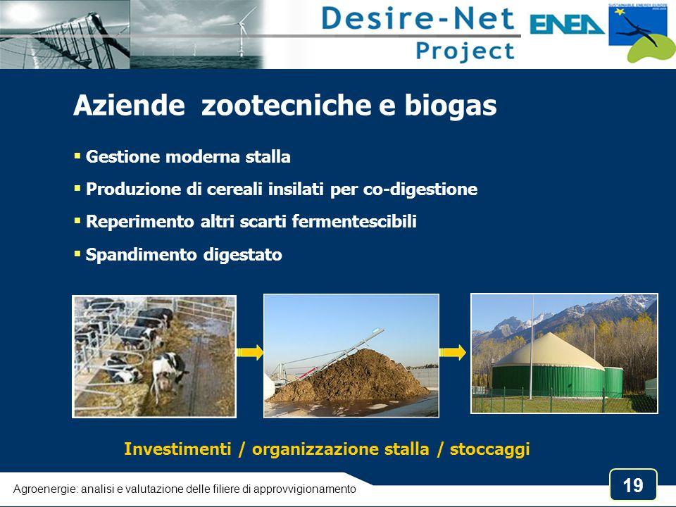 19 Aziende zootecniche e biogas  Gestione moderna stalla  Produzione di cereali insilati per co-digestione  Reperimento altri scarti fermentescibil