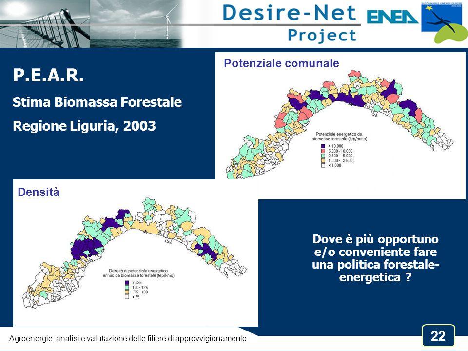 22 Dove è più opportuno e/o conveniente fare una politica forestale- energetica ? P.E.A.R. Stima Biomassa Forestale Regione Liguria, 2003 Potenziale c