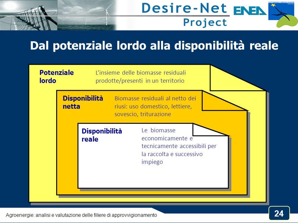 24 Dal potenziale lordo alla disponibilità reale Potenziale lordo L'insieme delle biomasse residuali prodotte/presenti in un territorio Disponibilità