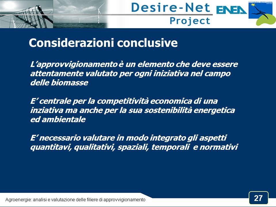 27 L'approvvigionamento è un elemento che deve essere attentamente valutato per ogni iniziativa nel campo delle biomasse E' centrale per la competitiv