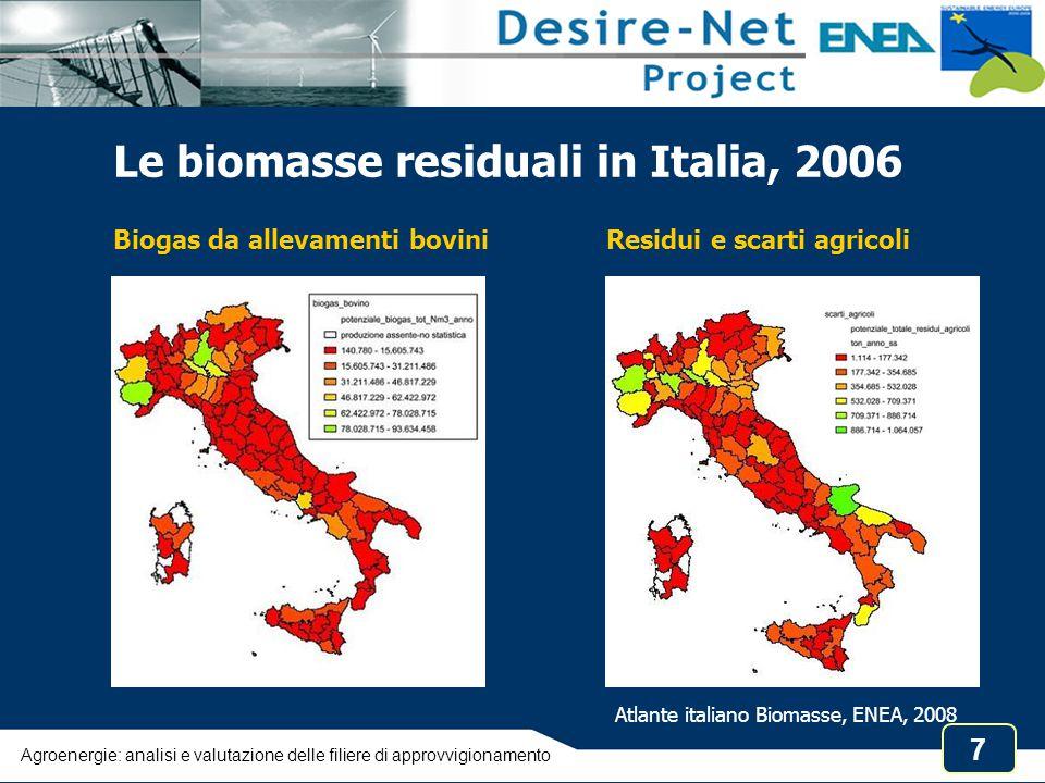8 Usi finali delle agroenergie in Italia  Riscaldamento domestico, individuale e collettivo (teleriscaldamento)  Calore di processo e/o elettricità in cogenerazione presso siti industriali (industria del legno, distillerie)  Produzione di elettricità (o elettricità e calore in cogenerazione) da impianti dedicati alimentati con biomasse, oli vegetali, biogas  Biocarburanti per i trasporti (biodiesel, ETBE) Assenza di statistiche sulla quantità e l'origine delle biomasse utilizzate Agroenergie: analisi e valutazione delle filiere di approvvigionamento