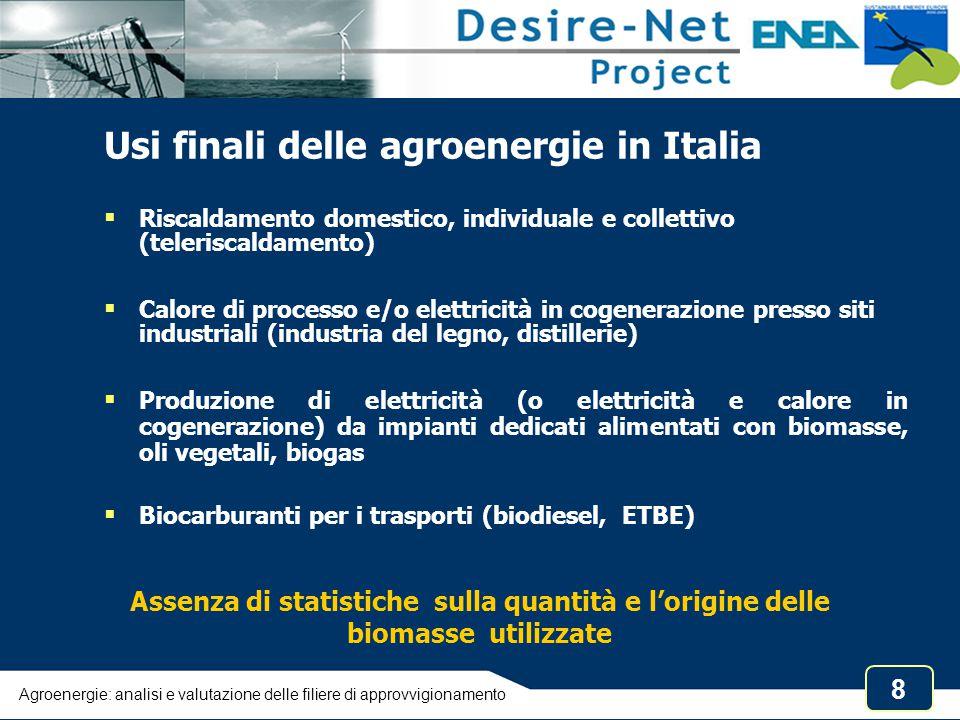 8 Usi finali delle agroenergie in Italia  Riscaldamento domestico, individuale e collettivo (teleriscaldamento)  Calore di processo e/o elettricità