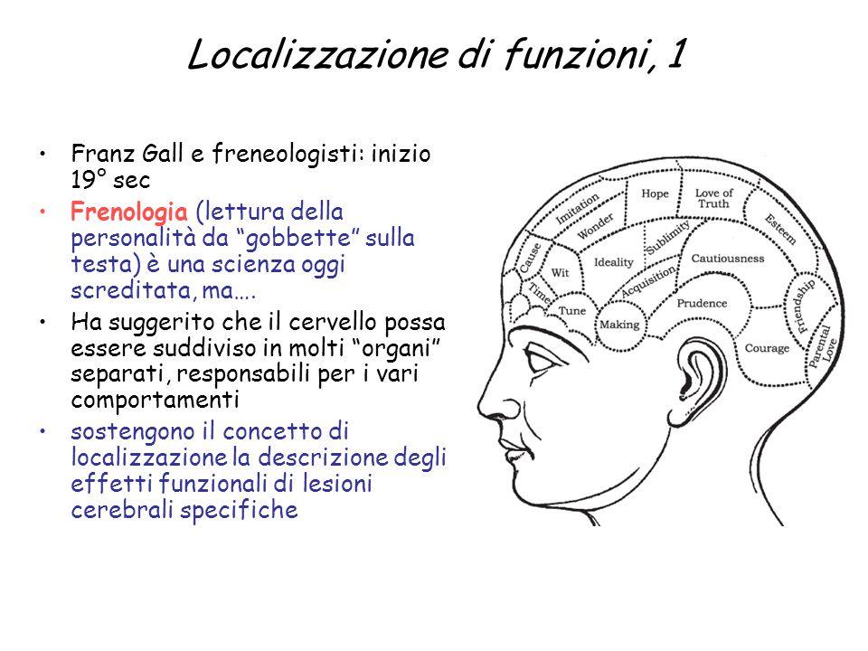 """Localizzazione di funzioni, 1 Franz Gall e freneologisti: inizio 19° sec Frenologia (lettura della personalità da """"gobbette"""" sulla testa) è una scienz"""