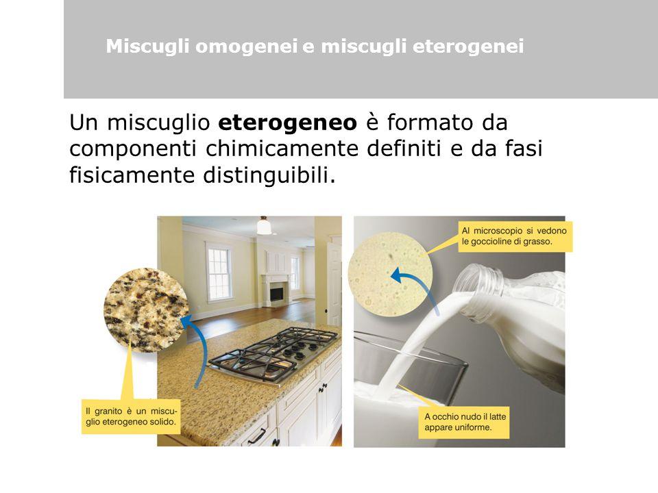 Un miscuglio eterogeneo è formato da componenti chimicamente definiti e da fasi fisicamente distinguibili. Miscugli omogenei e miscugli eterogenei