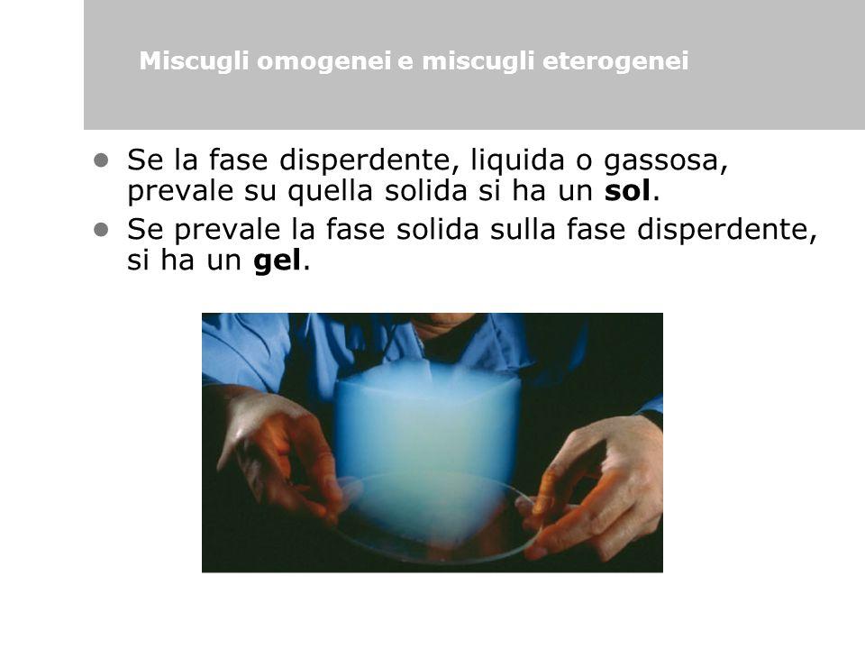 Se la fase disperdente, liquida o gassosa, prevale su quella solida si ha un sol. Se prevale la fase solida sulla fase disperdente, si ha un gel. Misc