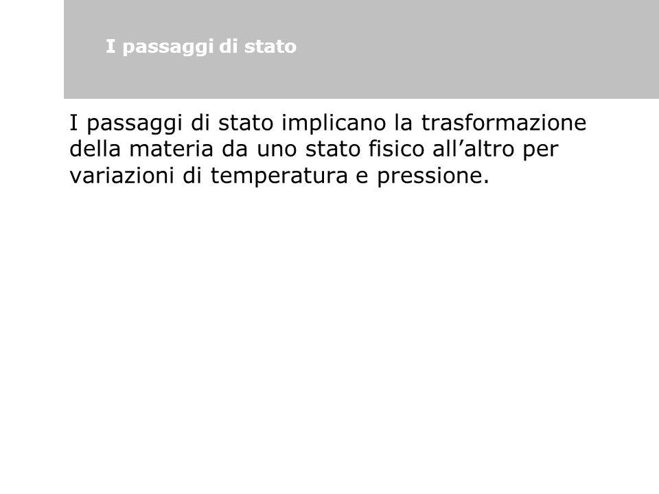 I passaggi di stato implicano la trasformazione della materia da uno stato fisico all'altro per variazioni di temperatura e pressione. I passaggi di s