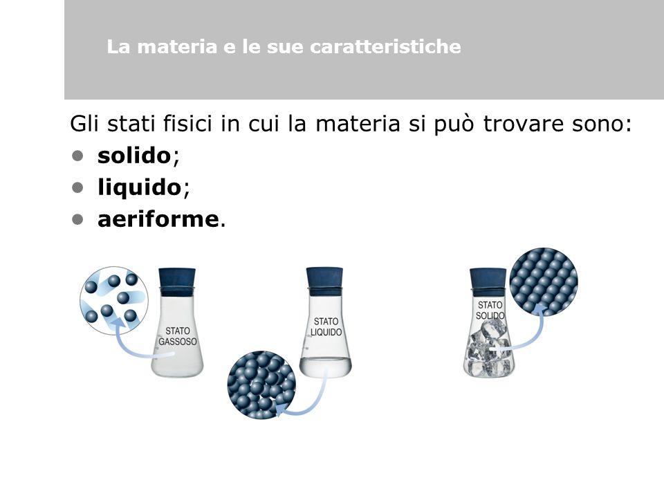 Gli stati fisici in cui la materia si può trovare sono: solido; liquido; aeriforme. La materia e le sue caratteristiche