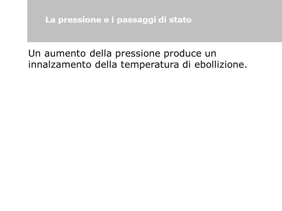 La pressione e i passaggi di stato Un aumento della pressione produce un innalzamento della temperatura di ebollizione.