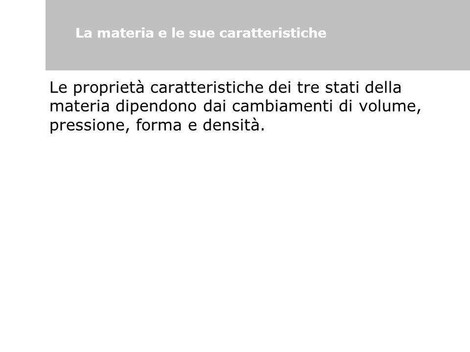 Le proprietà caratteristiche dei tre stati della materia dipendono dai cambiamenti di volume, pressione, forma e densità. La materia e le sue caratter