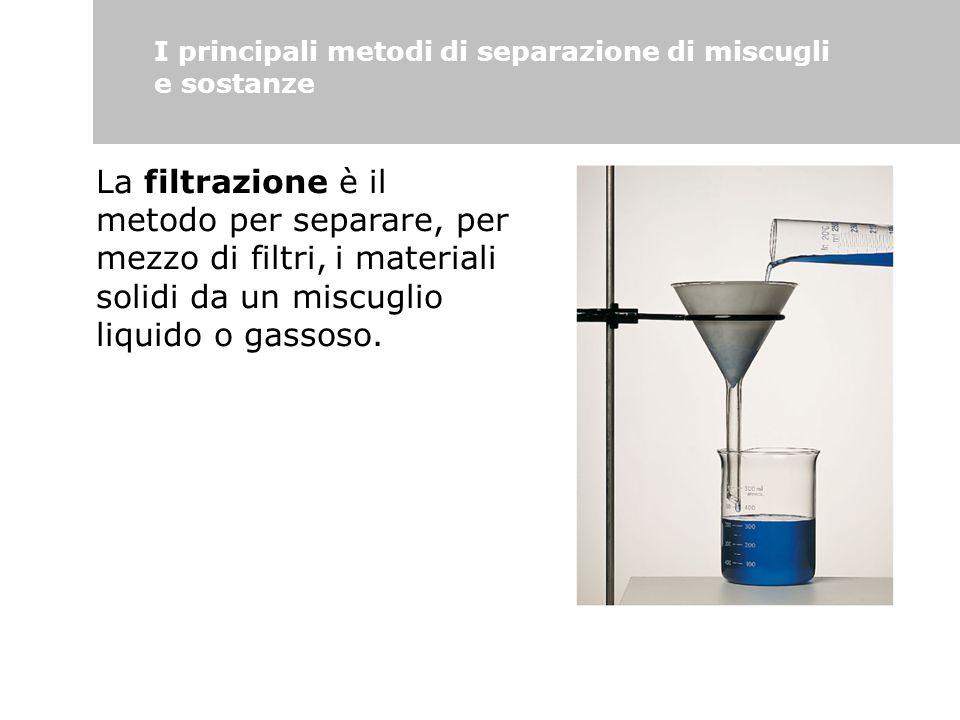 I principali metodi di separazione di miscugli e sostanze La filtrazione è il metodo per separare, per mezzo di filtri, i materiali solidi da un miscu