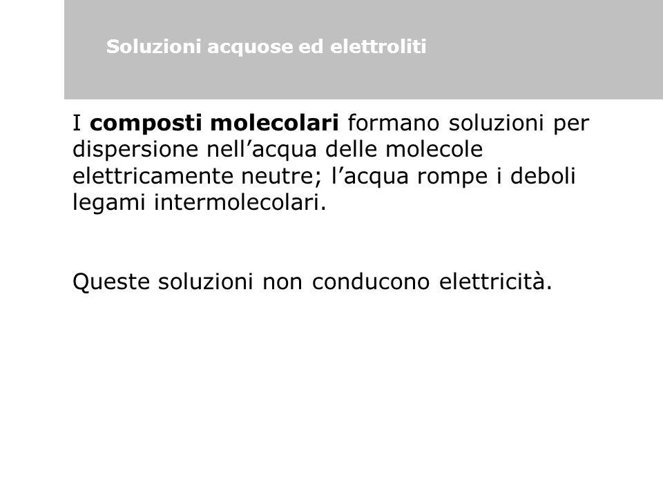 Soluzioni acquose ed elettroliti I composti molecolari formano soluzioni per dispersione nell'acqua delle molecole elettricamente neutre; l'acqua romp