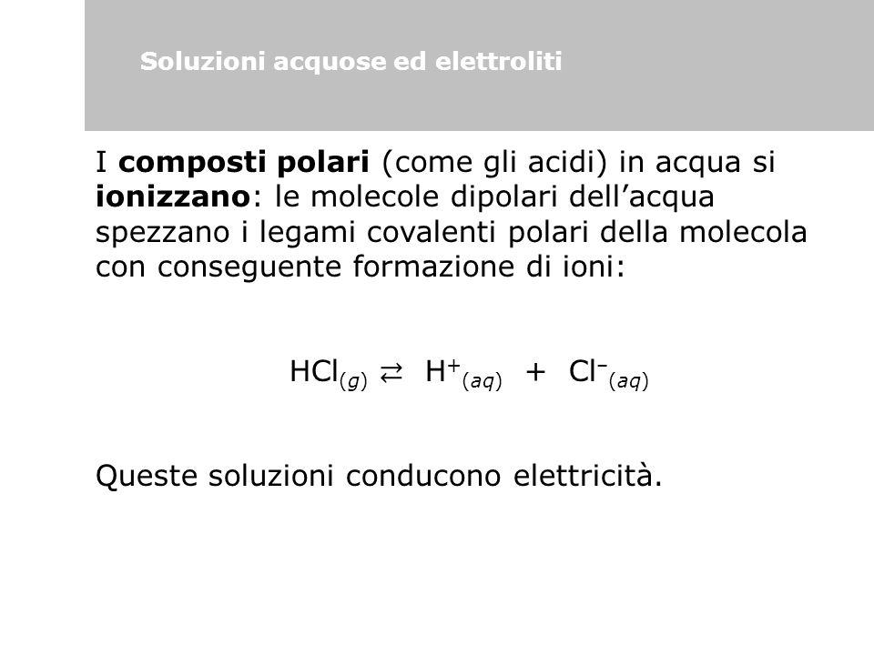 Soluzioni acquose ed elettroliti I composti polari (come gli acidi) in acqua si ionizzano: le molecole dipolari dell'acqua spezzano i legami covalenti