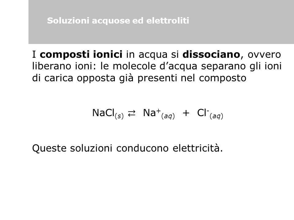 Soluzioni acquose ed elettroliti I composti ionici in acqua si dissociano, ovvero liberano ioni: le molecole d'acqua separano gli ioni di carica oppos